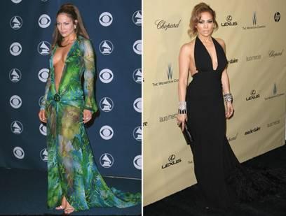 A sinistra l'abito del 2000, a destra quello del 2013